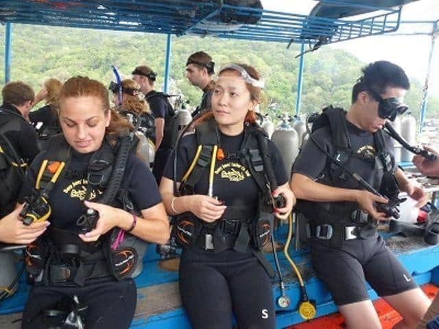 D11 P.A.D.I. Open Water Students Davy Jones Locker Koh Tao